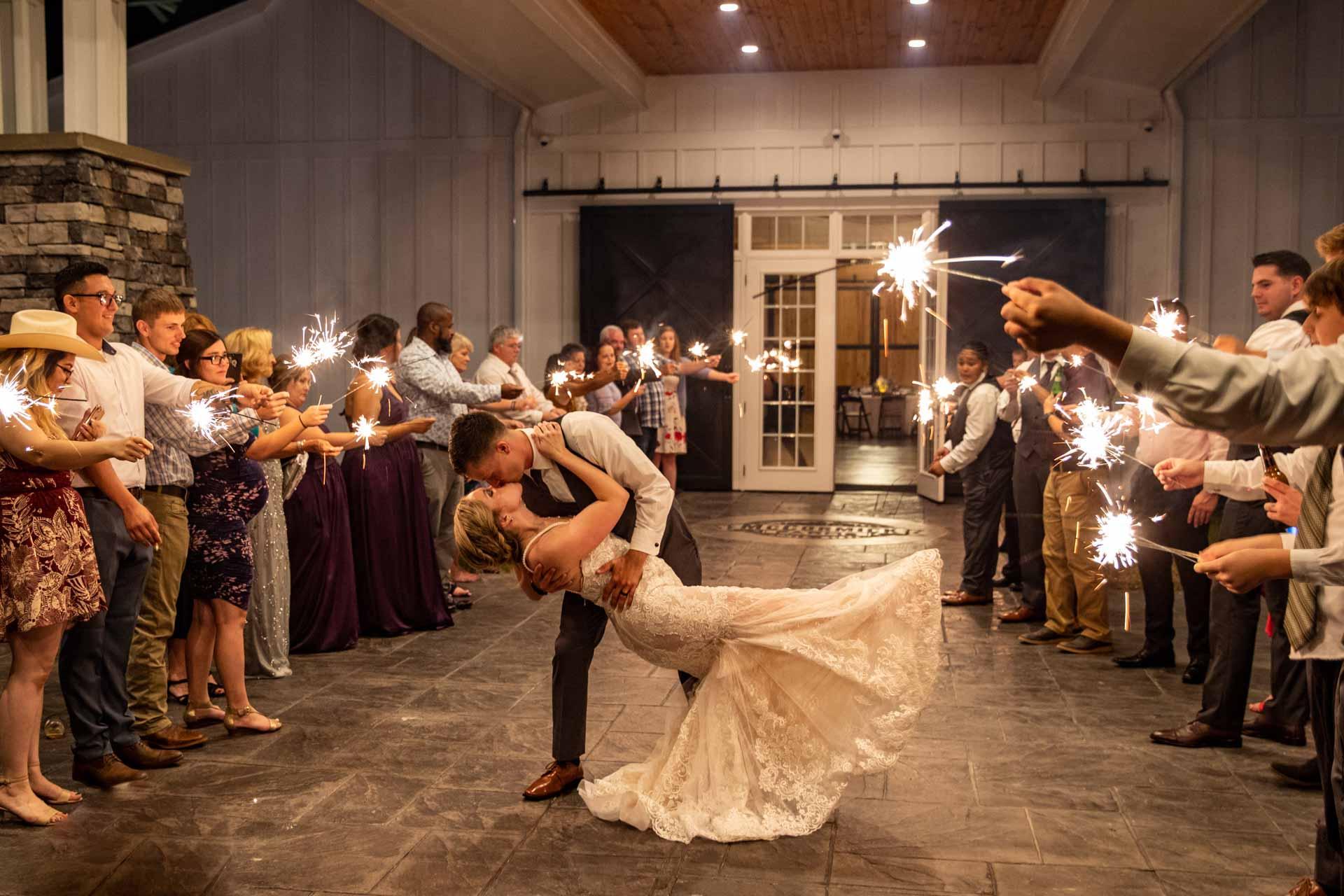 Wedding, sparklers, exit